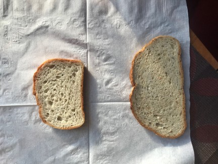 Gluten free: left, traditional: right